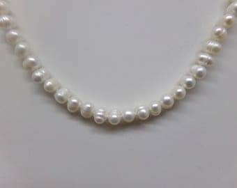 Short Necklace made with White Baroque Cultured Pearls