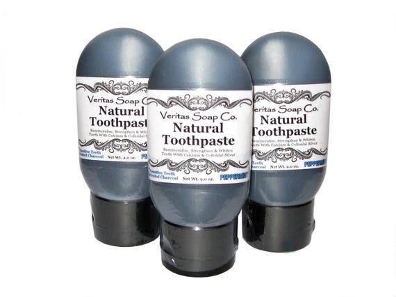 CHARCOAL TOOTHPASTE for Sensitive Teeth - Remineralize with Colloidal Silver & Calcium in PEPPERMINT / Vegan / No Fluoride / No Baking Soda