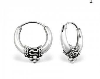 ETNIC HOOPS - 17 mm Bali Earrings // 925 Sterling Silver Hoops // Dainty Earring // Boho Earrings // Gypsy Jewelry // Real Silver