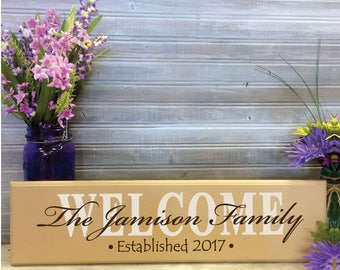 Family Name Sign, Custom Welcome Sign, Welcome Family Name, Gift for her, Custom Wedding Decor Centerpiece, Neighbors Gift, Anniversary
