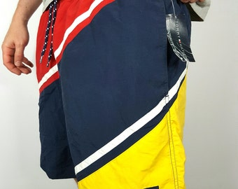 On Sale - 1990's Tommy Hilfiger Shorts - 90s Tommy Hilfiger Swim Shorts - Retro 1990s Hip Hop Throwback Streetwear - FREE SHIPPING