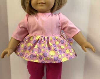 "18 inch Doll Clothes, Pink Knit Pants & Pink w/Polka Dots Top, 2 Piece Outfit, 18 inch Doll Clothes, 18"" AG Doll Clothes, Ready to Play!"