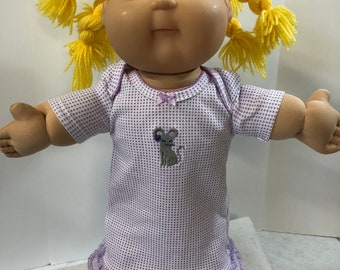 "Cabbage Patch KIDS 16 inch Doll Clothes, Cute Little ""MOUSE"" PURPLE Polka Dot Nightgown, 16 inch Cabbage Patch, Fits 15 inch Bitty Baby"