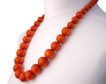 Long Orange Wooden Bead Necklace | Chunky Orange Necklace | Long Orange Necklace