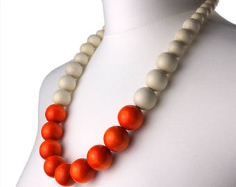Orange and White Long Chunky Necklace | Long Orange wooden bead necklace | Orange Statement Necklace