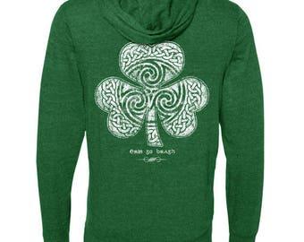 St. Patrick's Day -  Pullover Hoodie Green Sweatshirt - Celtic Clover Shamrock - Ready to Ship - Men's or Ladies Unisex Sizes - Irish