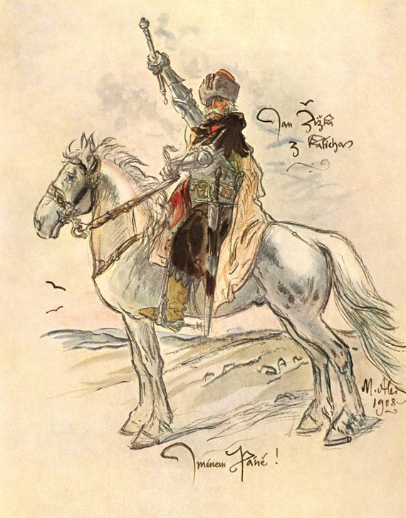 Vintage print of painting of Jan Zizka by Mikolas Ales, military leader on horse, nicely detailed, 11 x 8.5 inches, published 1954