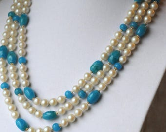 Vintage Teal And Glass Pearl 3-Strand Necklace, Teal Blown Glass Beads, Faux Pearl, Glass Pearl, KC097