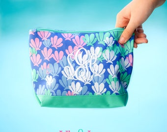 Mer Mazing Zip Pouch, Monogrammed Pouch, Viv and Lou,  Matching Items Available