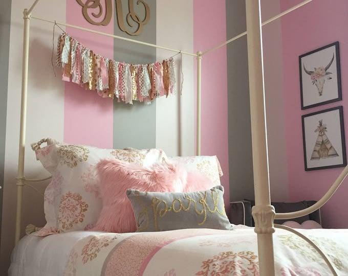 Painted Wooden Monogram - Dorm Room - Nursery - Bedroom - Wall Hanging - Wood Initial Decor