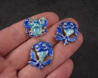 Lot of 3 Antique Blue Enamel Butterfly Fish Pendant Charms