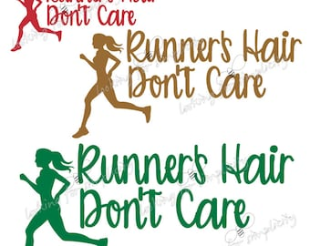 Runner's Hair Don't Care Running Decal /Sticker for Car, Laptop or any non painted surface