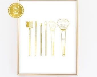 Makeup Gold Print // Makeup Poster // Make up Artist // Gold Foil Makeup brushes Print // Assorted makeup brushes // Bathroom beauty poster