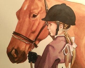 Custom Watercolor Painting of a Girl and her Pony