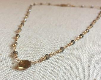 Smokey quartz and citrine gemstone gold necklace