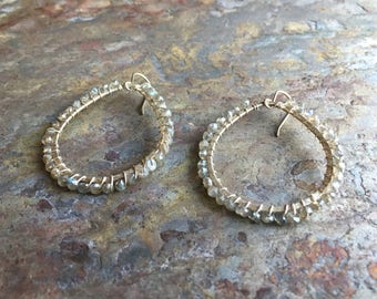 Labradorite gemstone silver hoop statement earrings