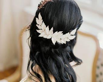 "Bridal headpiece-Bridal wreath- flower headpiece- Clay floral- Statement headpiece- White headpiece- Headpiece- TWRA ""IRIS"" wreath"