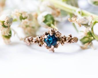 14k rose gold london blue topaz barnacle ring, barnacle engagement ring, rose gold nature engagement ring