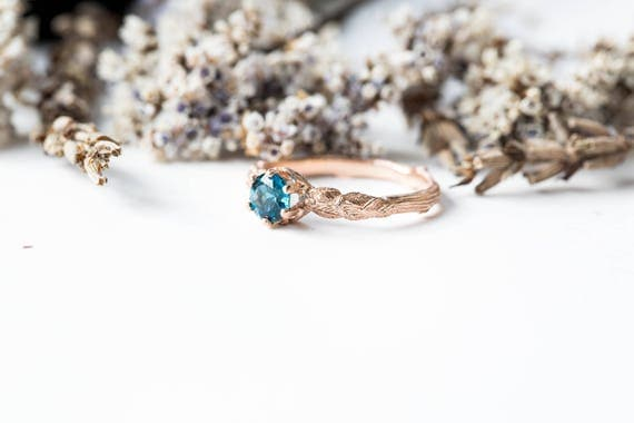 London blue topaz 14k gold leaf engagement ring, rustic nature engagement ring, topaz twig engagement ring, solitaire engagement, twig ring