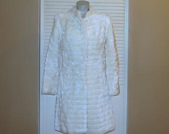 Vintage White Mid Length Faux Fur Coat~S~