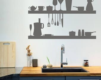 Wall Decal, Kitchen Objects, Kitchen Wall Decal, Kitchen Appliance Wall  Stickers, Wall
