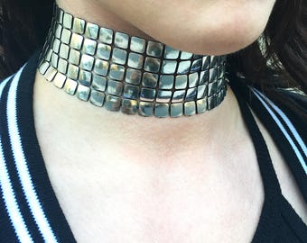 Handmade Metal Choker, Goth, Punk, Rocker, emo, Fun, Sexy, Unique, Festival, Boho, Biker, High Collar, Silver Band (Liquid Metal Choker)