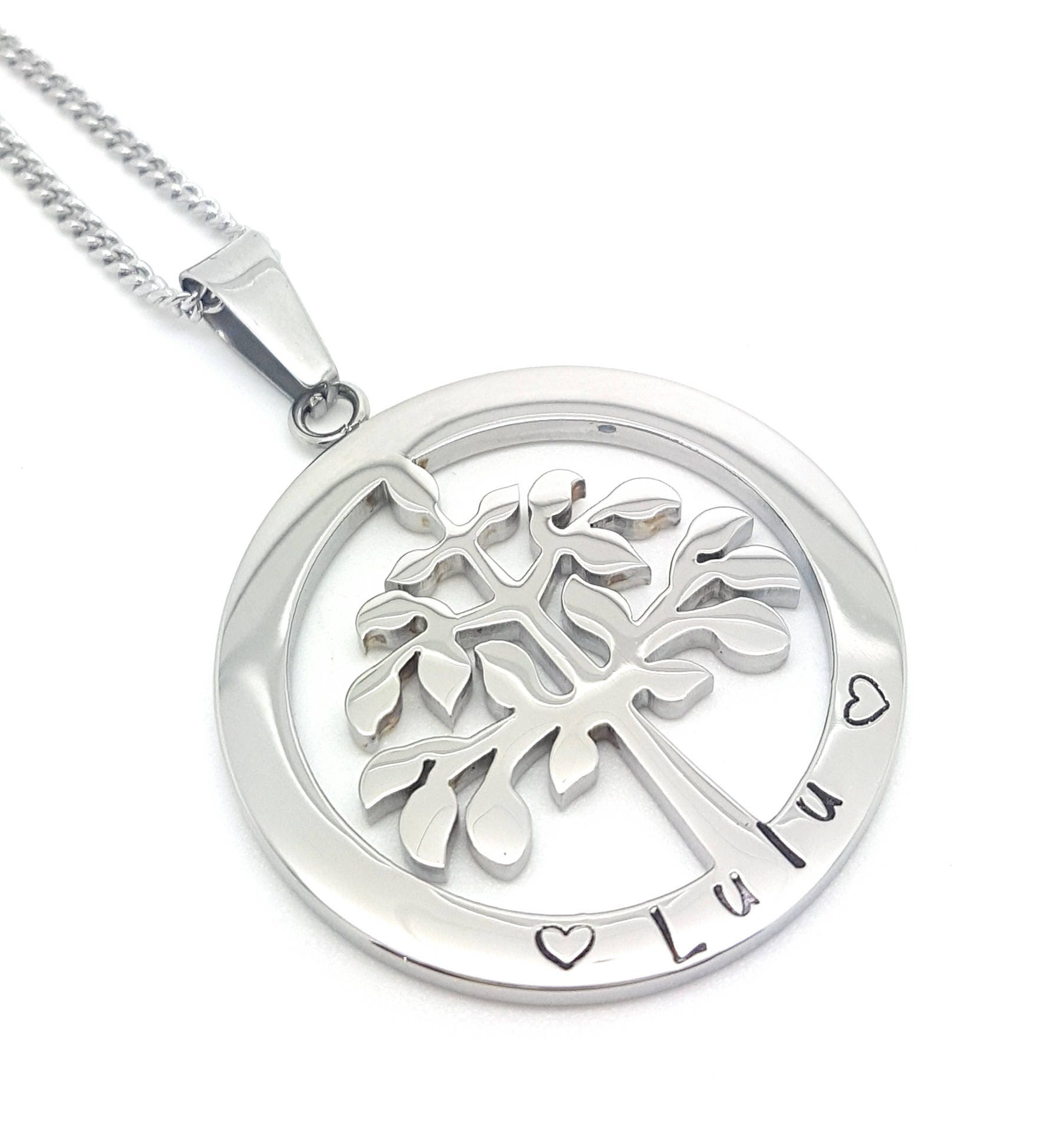 Family names tree of life pendant personalised jewellery hand family names tree of life pendant personalised jewellery hand stamped name necklaces silver family name pendants tree of life australia aloadofball Image collections