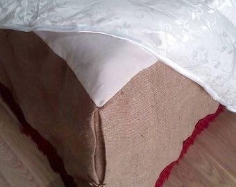 Burlap Bedskirt - Bed Skirt with Burgundy Fringe - Rustic Bedskirt - Burlap Bedding - Farmhouse Bedskirt - Burlap Valance - Queen Size