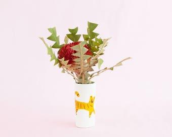 Nimerah Tiger bud vase - orange stripe big cat ceramic small vase