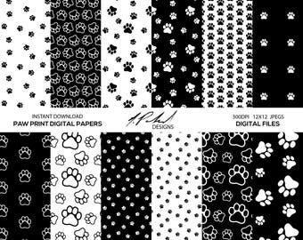 Paw Prints Digital Paper Pack - Digital Files - Paw Prints Pattern Digital Paper - JPG Files - Printable - Digital Paper - Paw Digital Paper