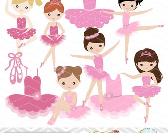 Digital Ballerina Clip Art, Ballet Clipart, Pink Ballet Girls Clip Art, Pink Ballet Shoes Clipart, Pink Ballet Dress, Ballet Dancer 00179
