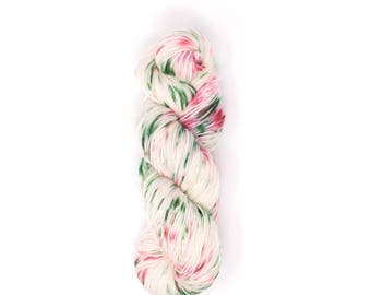 Christmas Yarn, Speckled Yarn, Hand Dyed Yarn, Fingering - Sock - DK, Ivory Yarn, Red Pink Green Speckles in Holiday Cheer
