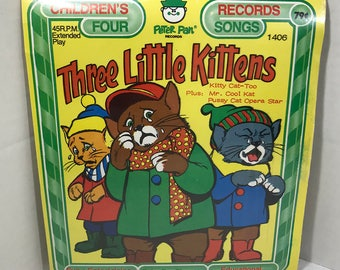 "Three Little Kittens vintage record SEALED Peter Pan Records 7"" vinyl"