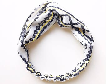 Phyllis Fabric Headband - Turban headband - Diamond print - Boho headband - Geometric print - Tan headband - Adult headband - White headband