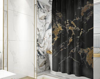 Black And Gold Marble Shower Curtain Bath Glam Bathroom Decor