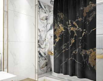Black and Gold Marble Shower Curtain, Gold Marble Bath Curtain, Glam Bathroom Decor, Fabric Shower Curtain, Standard or Extra Long