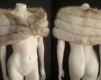 Norwegian Blue White FOX FUR Capelet Cape Stole Wrap Shrug Bolero Coat Jacket ~ Winter Wedding ~ Bridal Gift ~ Brown Cream ~ No monogram