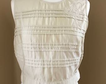 Vintage Ivory Pleated and Embroidered Faux-Silk Blouse