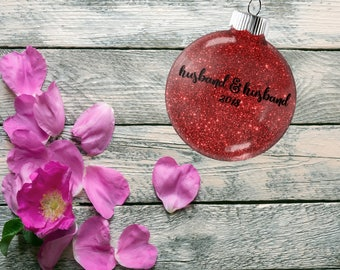 Gift for Gay Couple, Wedding Ornament, Tree Decoration for Bridal Party, Present for Wedding Anniversary Bachelor Party Gift