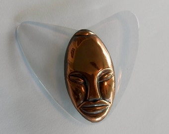 Elzac Large Lucite and Copper Brooch