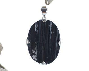 Silver Pendant Black Raw Tourmaline. Natural Stone. Gemstone Pendant. Black Tourmaline Necklace. Raw Stone.