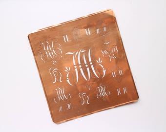 HH Large Antique Monogram Copper Stencil 13 different HH Design - Gabarit de couture HH French Monogram Stencil