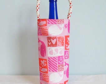 Single Wine Tote - Carved Whales Pink