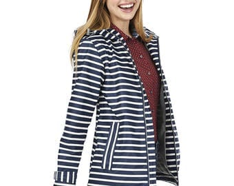 Monogrammed Striped Charles River Rain Jacket