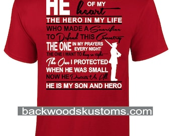 He Is My Son And Hero MARINE Shirt - Mom / Dad Shirt - Up to 5X (G2000) - #1312