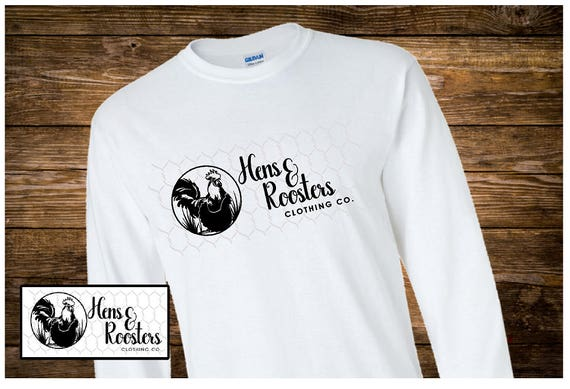 Hens & Roosters Clothing Co. Logo T-Shirt LONG SLEEVE - Up to a 5X - (G2400) #0000