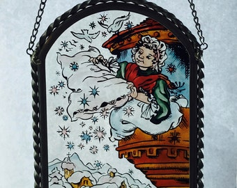 Vintage Hand Painted Glass Suncatcher Sun Catcher Frau Holle Old Mother Frost Brothers Grimm Fairy Tale