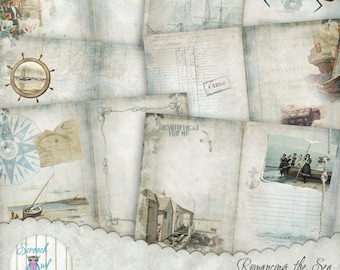 "Junk Journal Kit, Digital Journal Pages,  DIY Journal 5.0"" x 7.0"" , Journal Cards, Ephemera, Paper Craft Supplies - 'Romancing the Sea'"