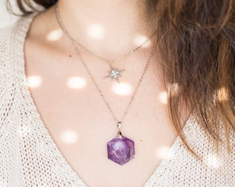 Celectial Necklace Inspirational Amethyst Necklace Geometric Necklace Geometric Jewelry Modern Jewelry Silver Necklace Silver Jewelry