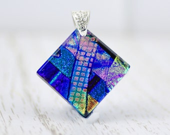 Fused Glass Pendant-Elegant Dichroic Glass  Necklace-Cobalt Blue and Teal Diamond Shaped Pendant-Dichroic Abstract Glass Jewelry.  JBT583
